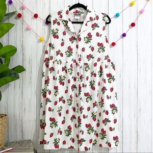 Vintage strawberry print button front dress MEDIUM